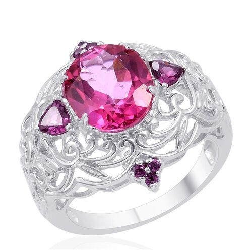 Designer Collection Mystic Pink Coated Topaz (Ovl 7.50 Ct), Rhodolite Garnet Ring in Platinum Overlay Sterling Silver 8.225 Ct.