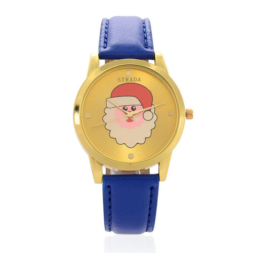 STRADA Japanese Movement Santa Claus Yellow Dial Water Resistant Watch in Gold Tone with Blue Strap