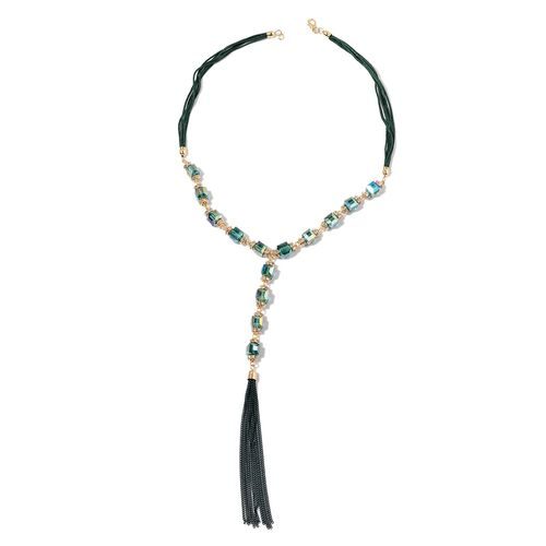 Simulated Emerald and White Austrian Crystal Necklace (Size 22) in Gold Tone