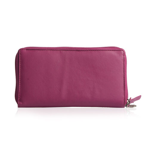 100% Genuine Leather RFID Blocker Fuchsia Colour Wallet with Multiple Card Slots (Size 19X10.5X5 Cm)