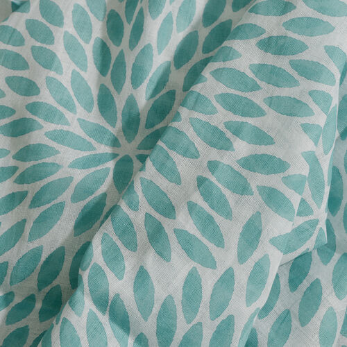 100% Cotton Turquoise and White Colour Leaves Printed Towel (Size 160x90 Cm), Pareo (Size 160x50 Cm) and Bag (Size 35x33 Cm)