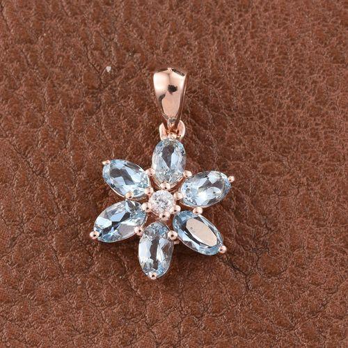 Espirito Santo Aquamarine (Ovl), Natural Cambodian Zircon Flower Pendant in Rose Gold Overlay Sterling Silver 1.250 Ct.