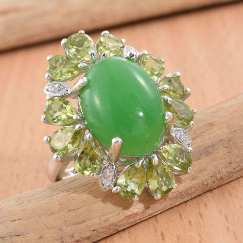 Green Jade (Ovl 11.35 Ct), Hebei Peridot and Natural Cambodian Zircon Ring in Platinum Overlay Sterling Silver 16.500 Ct.