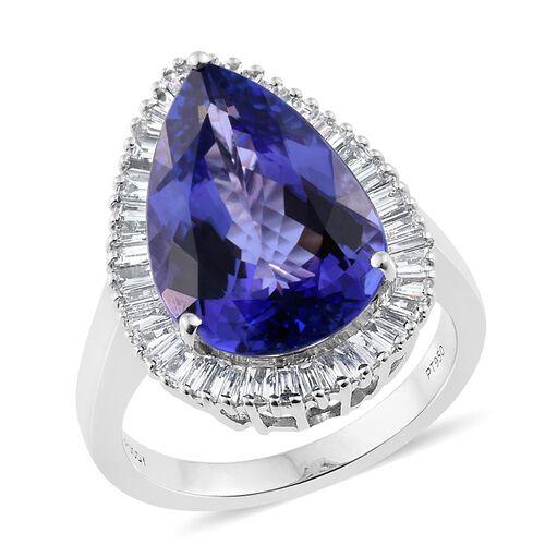 RHAPSODY 950 Platinum 9.79 Ct AAAA Tanzanite Pear Halo Ring with Diamond VS E-F Platinum Wt 10.00 Grams