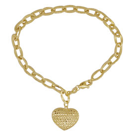 Royal Bali Collection 9K Y Gold Curb Bracelet (Size 8) with Heart Charm, Gold wt 3.71 Gms.