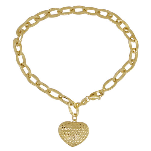 Surabaya Gold Collection -9K Y Gold Curb Bracelet (Size 8) with Heart Charm, Gold wt 3.71 Gms.