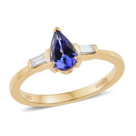 ILIANA 18K Yellow Gold 1 Carat AAA Tanzanite and Diamond (SI/G-H) Ring