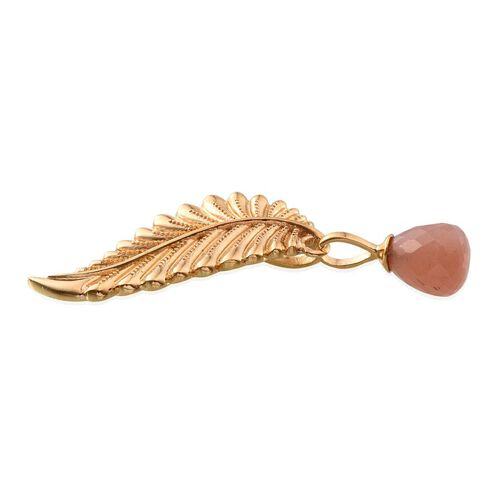 Morogoro Peach Sunstone Leaf Pendant in 14K Gold Overlay Sterling Silver 5.750 Ct.