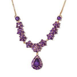 Lusaka Amethyst (Pear 5.30 Ct) Adjustable Floral Necklace (Size 20) in 14K Gold Overlay Sterling Silver 10.750 Ct.