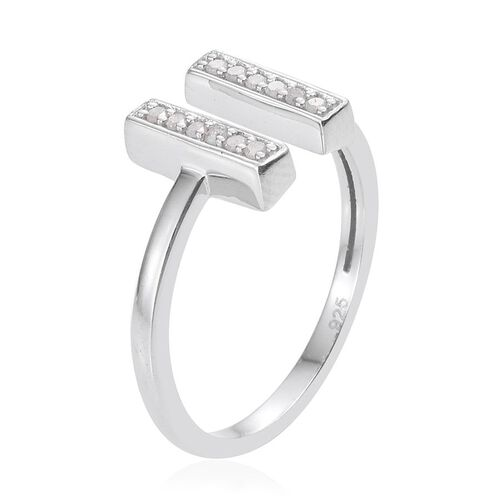 Diamond (Rnd) Open Ring in Platinum Overlay Sterling Silver 0.100 Ct.