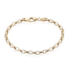 Royal Bali Collection 9K Yellow Gold Oval Belcher Bracelet (Size 7.5) Gold Wt 3.01 Grams