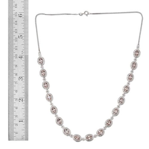 Marropino Morganite (Ovl), Diamond Necklace (Size 18) in Platinum Overlay Sterling Silver 5.260 Ct.