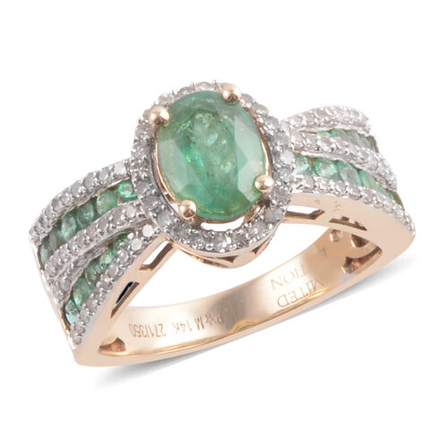 14K Y Gold AAA Kagem Zambian Emerald (Ovl 1.00 Ct), Diamond Ring 2.000 Ct.