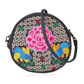 SHANGHAI COLLECTION Multi Colour Rabbits under Peony Embroidered Round Shape Crossbody Bag with Removable Shoulder Strap (Size 19X18X6 Cm)