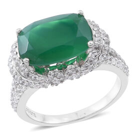 Verde Onyx (Cush 6.00 Ct), Natural Cambodian White Zircon Ring in Rhodium Plated Sterling Silver 8.750 Ct.