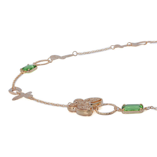 Simulated Emerald and White Austrian Crystal Necklace (Size 36) in Gold Tone