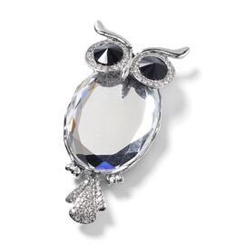 AAA Simulated White Diamond (Ovl), Austrian Black and White Crystal Owl Brooch