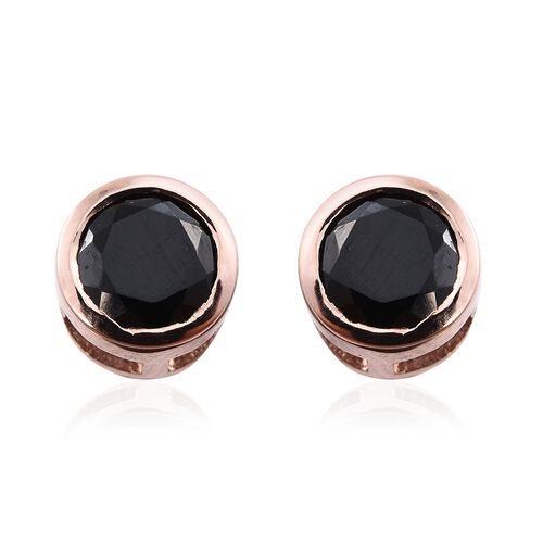 Boi Ploi Black Spinel (Rnd) Stud Earrings (with Push Back) in Rose Gold Overlay Sterling Silver 1.250 Ct.