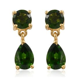 Russian Diopside (Pear) Earrings (with Push Back) in 14K Gold Overlay Sterling Silver 2.500 Ct.