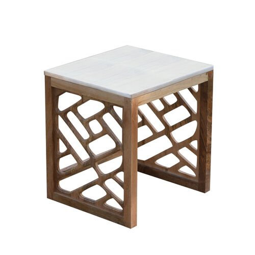 Luxury Edition - Natural Marble Side Table in White Colour with Mango Wood Base (Size 42X38X34 Cm)