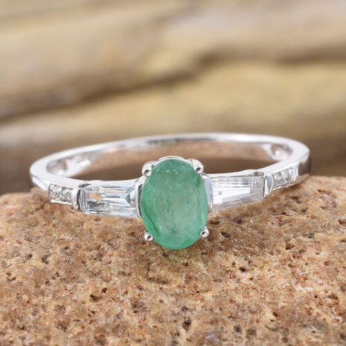 Kagem Zambian Emerald (Ovl 0.75 Ct), White Topaz Ring in Platinum Overlay Sterling Silver 1.180 Ct.