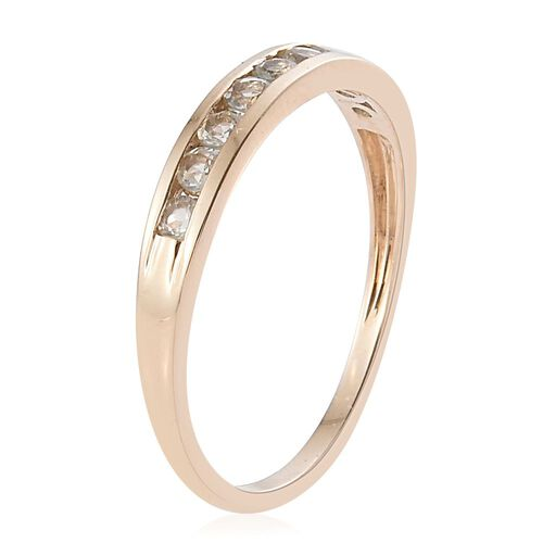 9K Y Gold Natural Turkizite (Rnd) Half Eternity Ring 0.750 Ct.