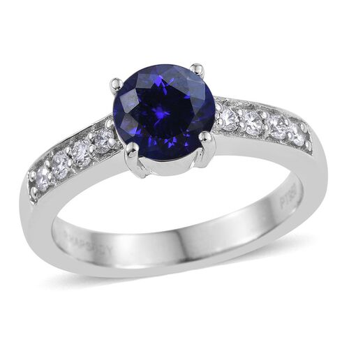RHAPSODY 950 Platinum 2 Carat AAAA Tanzanite Round Solitaire Ring, Diamond VS E-F.