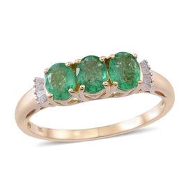 9K Yellow Gold Kagem Zambian Emerald (Ovl), Diamond Ring 1.500 Ct.