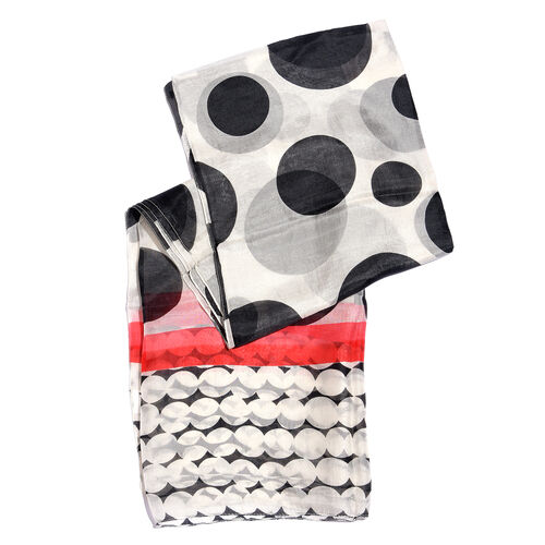 100% Mulberry Silk Black, Off White and Multi Colour Handscreen Polka Dots Printed Scarf (Size 180X100 Cm)