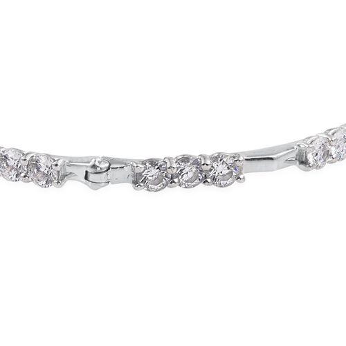 J Francis - Platinum Overlay Sterling Silver (Rnd) Bangle (Size 7.5) Made with SWAROVSKI ZIRCONIA, Silver wt. 12.40 Gms.