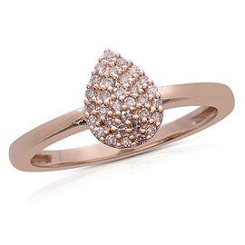 9K Rose Gold 0.15 Ct Natural Pink Diamond Cluster Ring SGL Certified (I3/G-H)