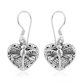 Royal Bali Collection Sterling Silver Heart with Dragonfly Hook Earrings, Silver wt 6.36 Gms.