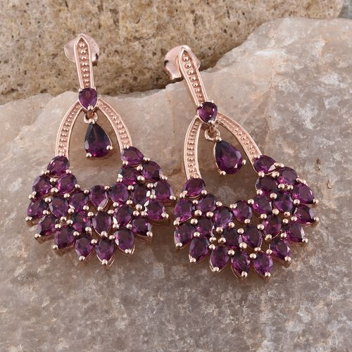 Designer Inspired - AAA Purple Garnet (Pear) Earrings (with Push Back) in Rose Gold Overlay Sterling Silver 10.250 Ct. Silver wt. 7.70 Gms.