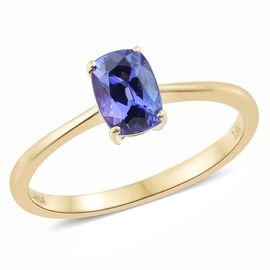 ILIANA 18K Yellow Gold 1 Carat AAA Tanzanite Cushion Solitaire Ring