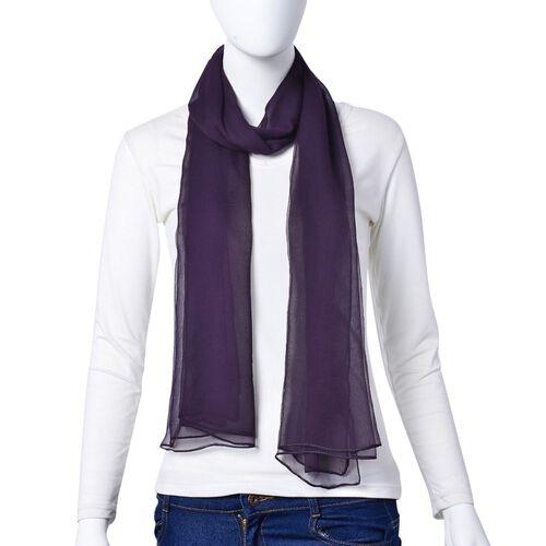 100% Mulberry Silk Purple Colour Scarf (Size 170X70 Cm)