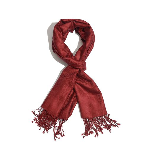 100% Superfine Silk Red Colour Paisley Pattern Jacquard Jamawar Scarf with Tassels (Size 180x70 Cm) (Weight 125-140 Grams)