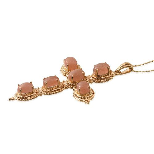 Morogoro Peach Sunstone (Ovl) Cross Pendant With Chain in 14K Gold Overlay Sterling Silver 8.500 Ct.