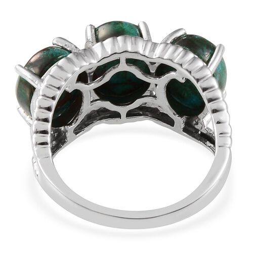Table Mountain Shadowkite (Ovl) Trilogy Ring in Platinum Overlay Sterling Silver 8.000 Ct.