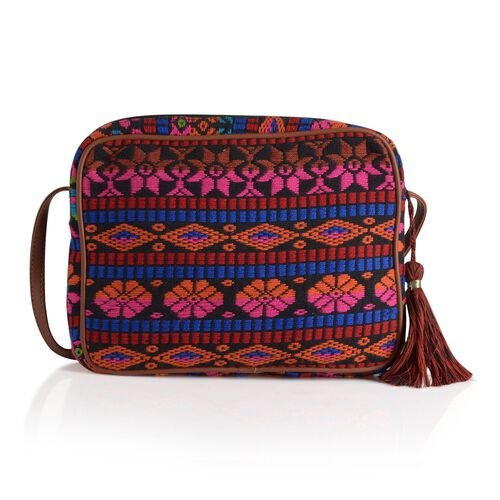 Pink and Multi Colour Crossbody Bag (Size 28x22x4.5 Cm)