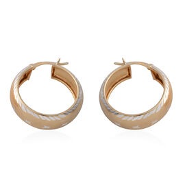Yellow Gold Overlay Sterling Silver Diamond Cut Hoop Earrings (with Clasp Lock)