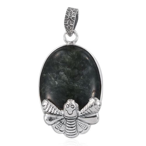 Siberian AAA Seraphinite (Ovl) Honey Bee Pendant in Sterling Silver 29.930 Ct.