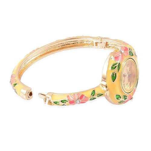 STRADA Japanese Movement White Austrian Crystal Yellow Enameled Floral Bangle Watch in Gold Tone