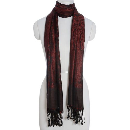 100% Superfine Silk Dark Red Colour Jacquard Jamawar Shawl with Fringes (Size 185x70 Cm) (Weight 125 - 140 Grams)