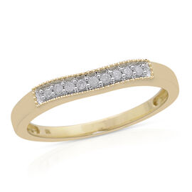 9K Yellow Gold 0.10 Carat Diamond Ring SGL Certified (Rnd) (I3)