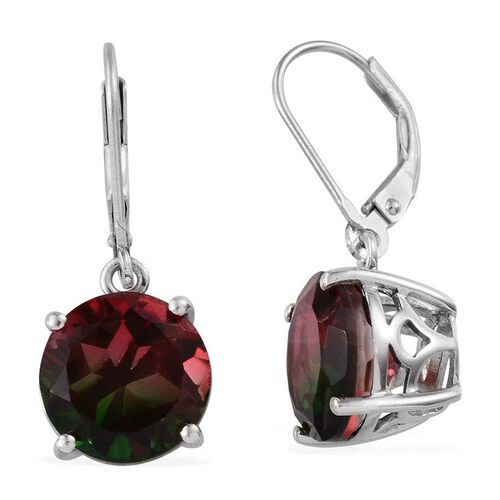 Tourmaline Colour Quartz (Rnd) Lever Back Earrings in Platinum Overlay Sterling Silver 8.250 Ct.