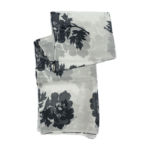 100% Mulberry Silk Black and Multi Colour Floral Pattern Grey Colour Scarf (Size 180x100 Cm)