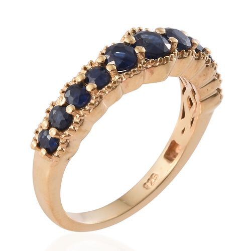 Kanchanaburi Blue Sapphire (Rnd) Ring in 14K Gold Overlay Sterling Silver 1.160 Ct.