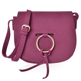 Burgundy Colour Crossbody Bag with Bow Embellished Metallic Circle at Front and Adjustable Shoulder Strap (Size 20X16X7 Cm)