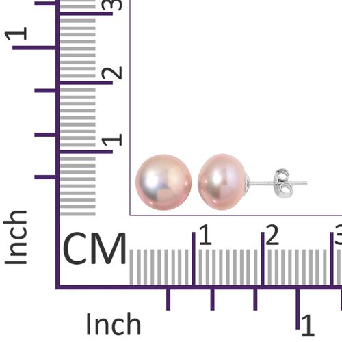 Fresh Water Purple Pearl Necklace (Size 64) and Stud Earrings (with Push Back) in Rhodium Plated Sterling Silver 613.001 Ct.