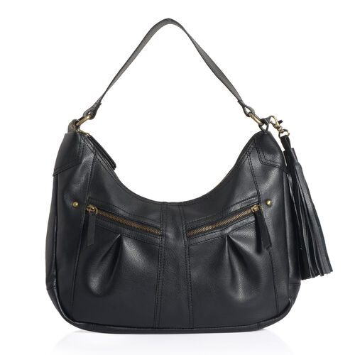 Genuine Leather Charcoal Black Colour Handbag with External Zipper Pocket and Removable Shoulder Strap (Size 27 X 30 Cm)